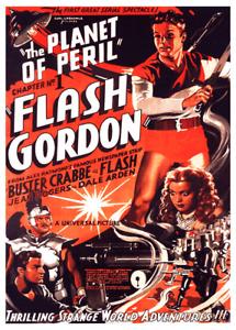 Vintage Art Deco FLASH GORDON Sci Fi Movie Poster 1930s Retro Space Rocket