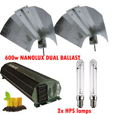 Dual Nanolux Digital Ballast 600W Hydroponic Grow Light HPS Lamps Reflector Kit