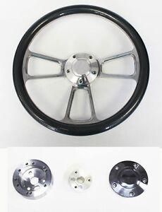 "1957-68 Chevy Bel Air Carbon Fiber and Billet Steering Wheel 14"" Full Horn Kit"