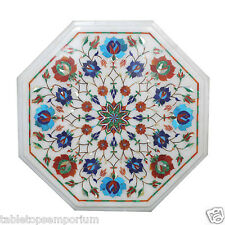 1'x1' White Marble Coffee Table Top Inlay Turquoise Marquetry Garden Decor Gifts