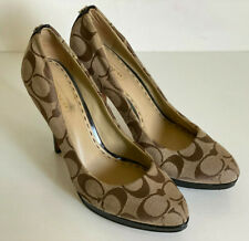 COACH CAYA SIGNATURE LOGO KHAKI BROWN PLATFORM PUMPS HEELS SHOES 6.5 37 SALE