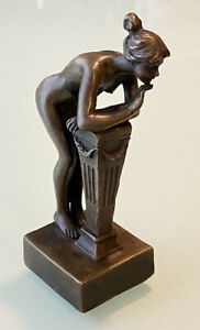 """Vintage Heavy Bronze Figurine Statue Nude Woman Leaning on Lectern 5-1/2""""Tall"""
