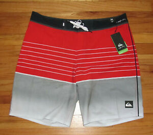 """Quiksilver Mens Red Gray 4 Way Stretch 20"""" Boardshorts Shorts 30 NWT"""