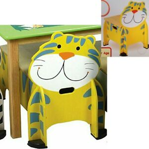 Santoys Wooden Tiger Kids Box Chair Toy Storage Chest Seat Nursery Play Room