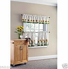 "Sunny Sunflower 3 Piece Kitchen Curtain Set With Valance & 24"" Tiers"