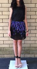 =GORGEOUS= PINKO BLACK Embellished Blue Sequins Party Pleated Dress Skirt US2
