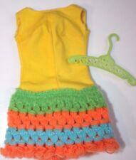 Vintage Mattel Barbie 1970 Loop Scoop #1454 Yellow Crochet Dress Shorts Romper