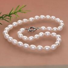 Strong 7-8mm natural White fresh water cultured akoya pearl necklace 18""