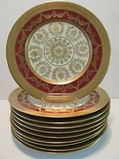 10 Hutschenreuther GOLD ENCRUSTED RED BAND SERVICE PLATES FILIGREE CENTERS SWAGS