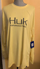 Huk Mens Icon X Long Sleeve Fishing Shirt In Yellow Size XXXL