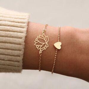 Women's Lotus & heart Gold Plated Bracelet 2 pcs Set Stylish Lotus Love Charm