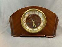 Seth Thomas Plymouth Art Deco Style Wood & Brass Face Mantel Clock 351