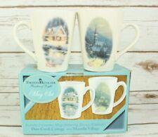 "Thomas Kinkade Mug Set 1995 ""Deer Creek Cottage"" 1989 ""Moonlight Village"""