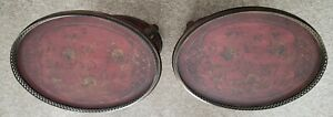 PAIR of Floral Detailing/ Pierced Bronzed Galleries Oval Side Table/End Table
