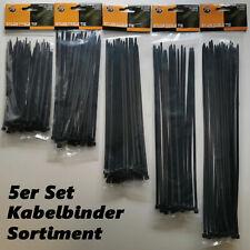 Kabelbinder schwarz Kabelstrapse versch. Größen Sortiment 150mm - 350mm Binder