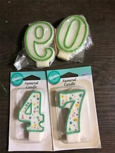 Vtg Unused Numeral Candles 0 9 7 4 Wilton Birthday Numbered