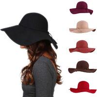 Women Kids Children Girls Wool Blend Floppy Wide Brim Cloche Hat Bowler Caps New