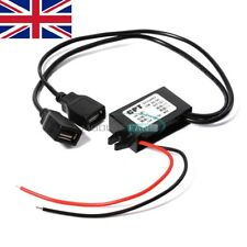 12V to 5V Dual USB Power Adapter Converter Cable Connector Car Charger For Phone