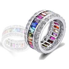 Colorful Charm Luxury Women Gem Rhinestone Crystal Finger Ring Jewelry Bright Multicolor(8)