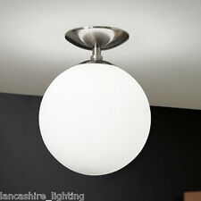 Retro Globe Ceiling Light With White Glass Globe Shade - Semi Flush Rondo 250mm