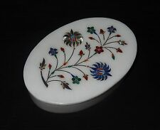 White Marble Jewelry Oval Box Lapis Paua Shell Floral Handicraft Art Decor Gifts