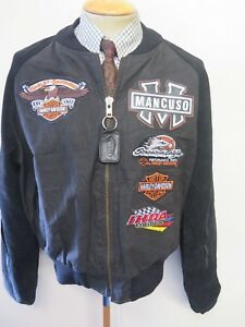 "Vanson Leathers Motorcycle Jacket Team Mancuso Harley Davidson XL 46"" Euro 56"