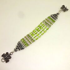 NATURAL PERIDOT BEADED GEMSTONE BEAUTIFUL BRACELET 34 GRAMS