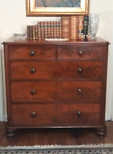 Original 1800s English Antique CHEST of DRAWERS Fine Mahogany Dove-Tailed
