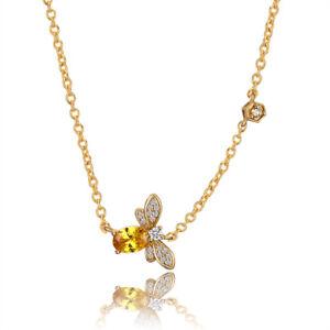 Cute 925 Silver Queen of Bee Design Citrine Gemstone Birthstone Pendant Necklace