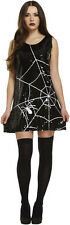 Halloween Ladies Spider Web Black Sequin Mini Fancy Dress Costume One Size 10-14