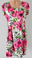 Bird Paradise Dress Skater Shift Fit Flare Size 12 medium pink White black