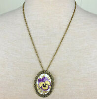 Vintage Purple & Gold Pansy Porcelain Necklace / Free Shipping