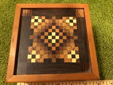 Suberb Hardwood Inlaid Wood Marquetry Parquetry Quilt Patchwork Box