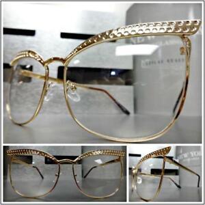 Klassisch Elegant Retro Cat Eye Stil Klar Gläser Brillen Groß Rotgold Rahmen