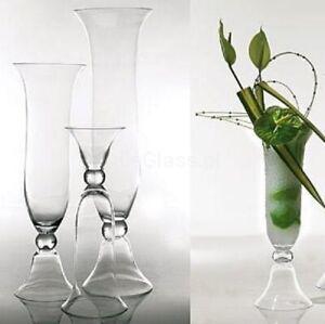 "Large Clear Glass Reversible Vase trumpet 24""/60cm Wedding Centrepieces Handmade"