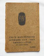 LIBRETTO MANUALE AUTOCARRO FIAT 634N 1934 CAMION MILITARE AFRICA AOI ESERCITO