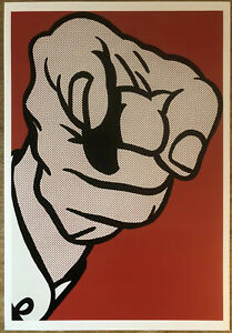 Roy Lichtenstein 1961 Finger Pointing Poster 26 X 37.5cm Early Iconic Pop Art A8