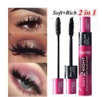 Neu 2in1 3D Lange Curling Wimpern Make-up wasserdichte Faser Mascara Eye Lashes