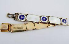 "David Andersen Blue and White Enamel Sterling Bracelet 6 3/4"""