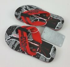 NWT Disney Store Boys Star Wars Flip Flops 9/10 Foot Soldier Sandals Red Black