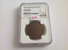 1859 Great Britain Penny NGC AU 58 Brown