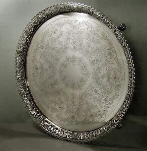 Chinese Export Silver LIon Salver           c1850 MK - 144 0z.