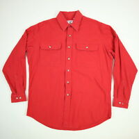 Vtg Prentiss Chamois Work Shirt Mens LARGE USA Made Red Work Chore Camp Outdoors