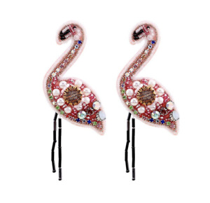 Cute Flamingo Bird Crystal Beaded Animal Sea Pink Dangle Boho Women's Earrings