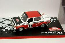 Ixo Presse Rallye Monte Carlo 1/43 - Simca 1000 Rallye 2 1973
