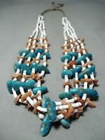 REMARKABLE VINTAGE NAVAJO TURQUOISE AND CORAL NECKLACE NATIVE AMERICAN OLD