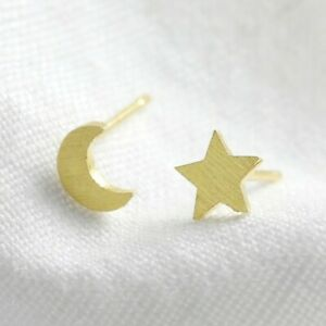 Gold Mismatched Moon and Star Stud Earrings