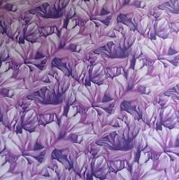 Yard~ Misty Meadow Packed Flower Petals On Purple Cotton Fabric By Clothworks