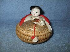 JAPANESE WOOD KOKESHI DOLLS - child IN BASKETS  Ejiko Doll /Tohoku Folk Crafts