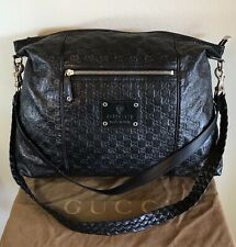Gucci Large Black Leather GG Guccissima Handbag Embossed Braised 2 Way Travel